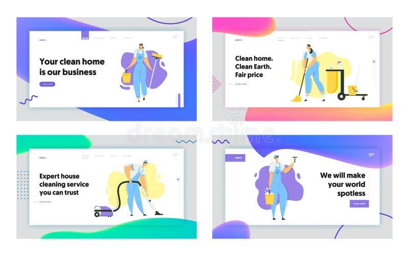 Caracteres de Limpeza com Mop, Limpeza de Vácuo e Página Inicial de Ferramentas Serviço de Limpeza com Pessoal com Equipamento ilustração do vetor