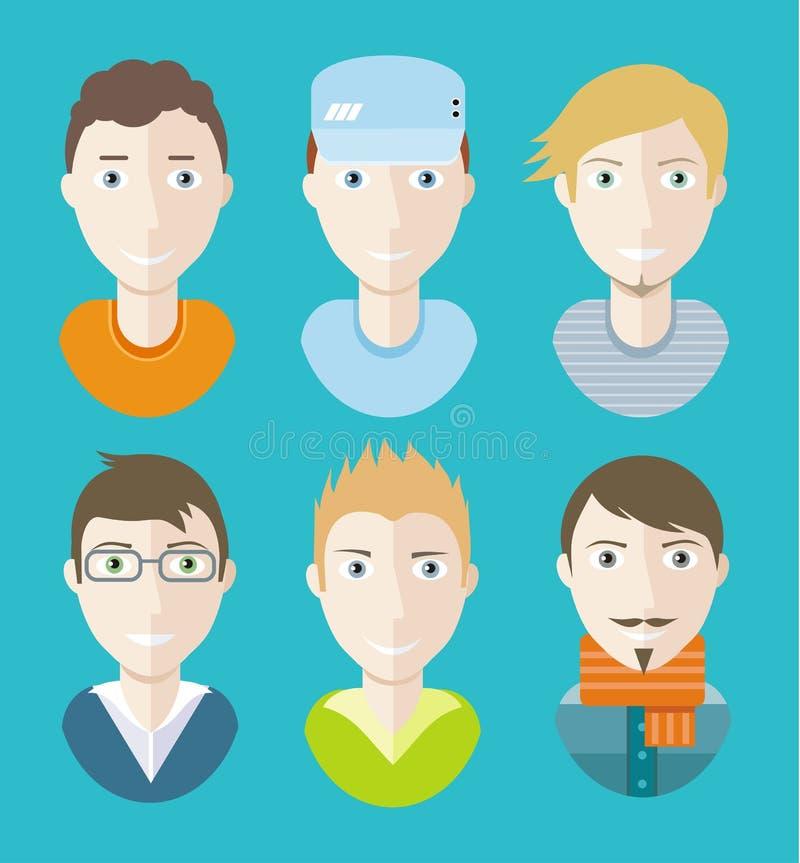 Caracteres de los avatares del hombre en fondo azul stock de ilustración