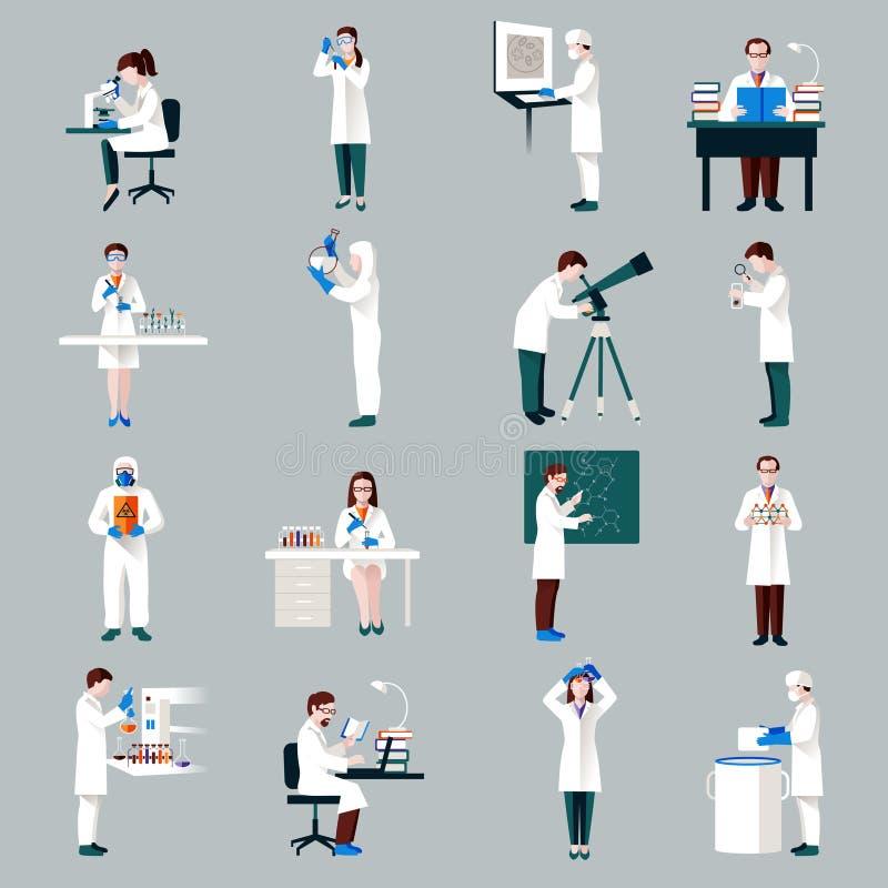 Caracteres de los científicos fijados ilustración del vector