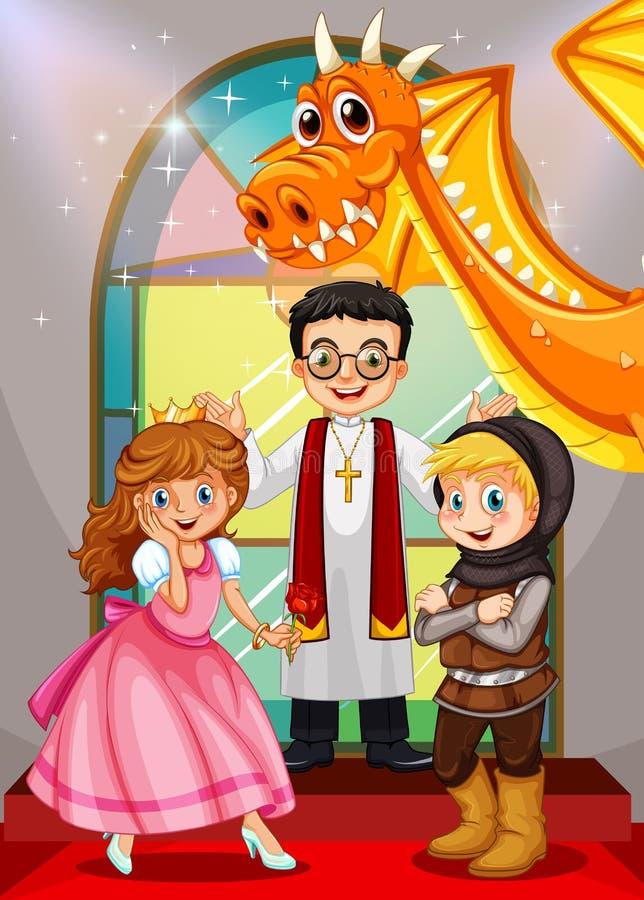 Caracteres de los cuentos de hadas en la iglesia stock de ilustración