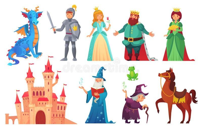 Caracteres de los cuentos de hadas Caballero y dragón de la fantasía, príncipe y princesa, reina mágica del mundo e historieta ai stock de ilustración