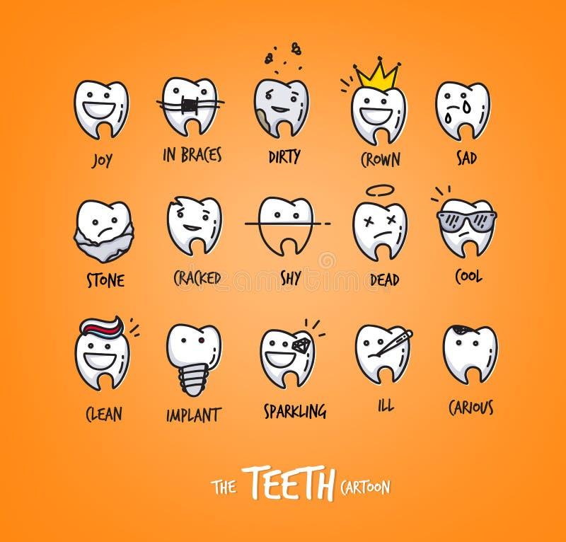 Caracteres de los dientes anaranjados ilustración del vector