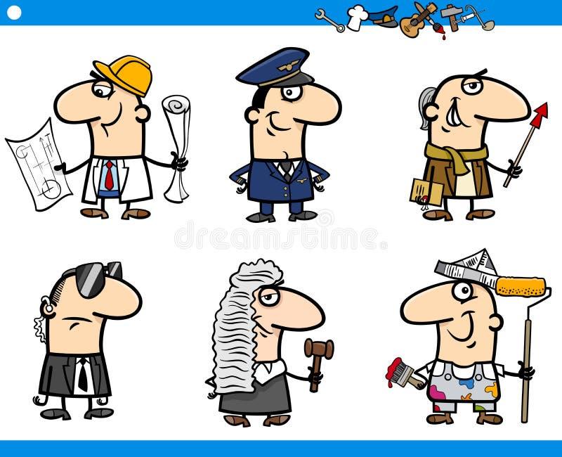 Caracteres de los empleos de la historieta fijados ilustración del vector