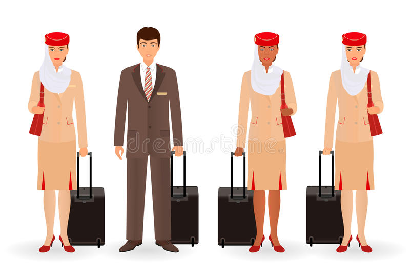 Caracteres de los musulmanes de la azafata y del piloto Gente real del equipo que vuela que se coloca en uniforme con las maletas libre illustration