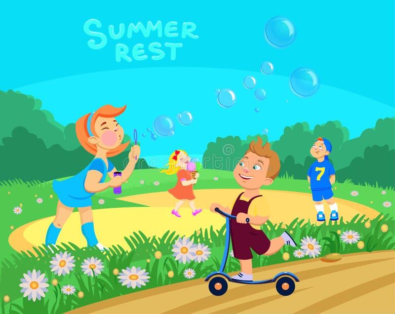 Caracteres de los ni?os de la historieta jugar en el parque, vacaciones de verano libre illustration