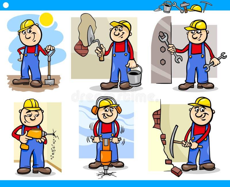 Caracteres de los trabajadores manuales o de los trabajadores fijados ilustración del vector