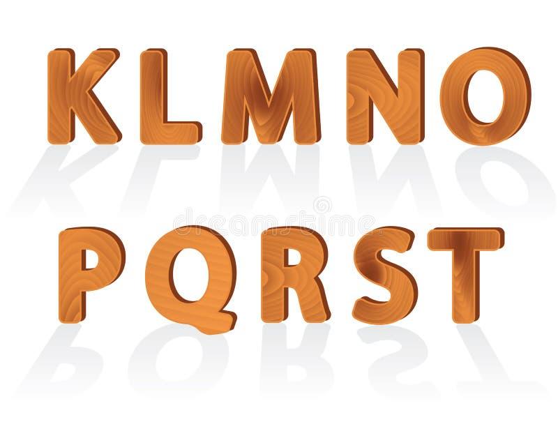 Caracteres de madera de la textura del grano de K a T stock de ilustración