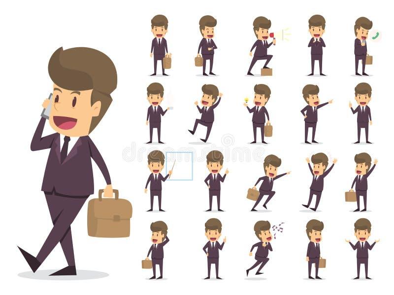 Caracteres de trabajo del hombre de negocios fijados sistema grande de la creación del carácter Di ilustración del vector