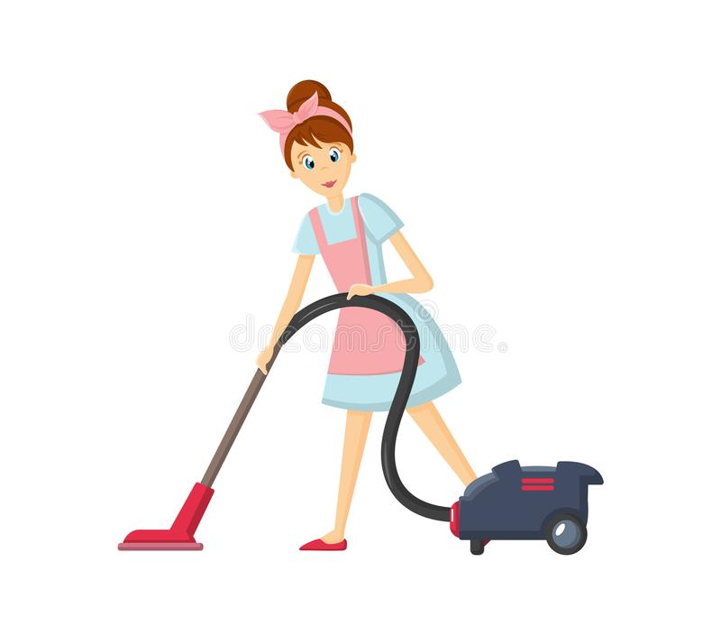 Caracteres del ama de casa de la mujer El ama de casa de la mujer quita el polvo con el aspirador stock de ilustración