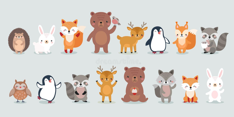 Caracteres del arbolado - oso, zorro libre illustration