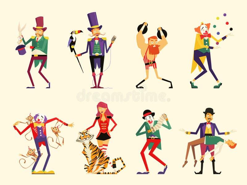 Caracteres del circo de la historieta ejecutantes de circo fijados stock de ilustración