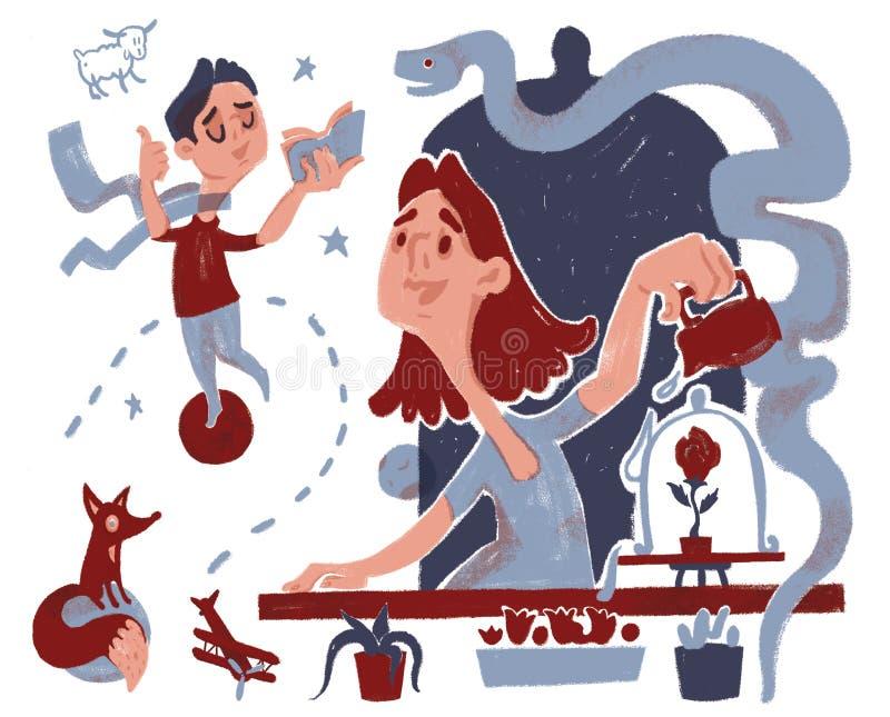 Caracteres del cuento de hadas del libro Antoine de Saint Exupery 'el pequeño príncipe ' libre illustration