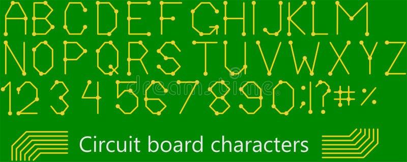 Caracteres del estilo de la tarjeta de circuitos libre illustration