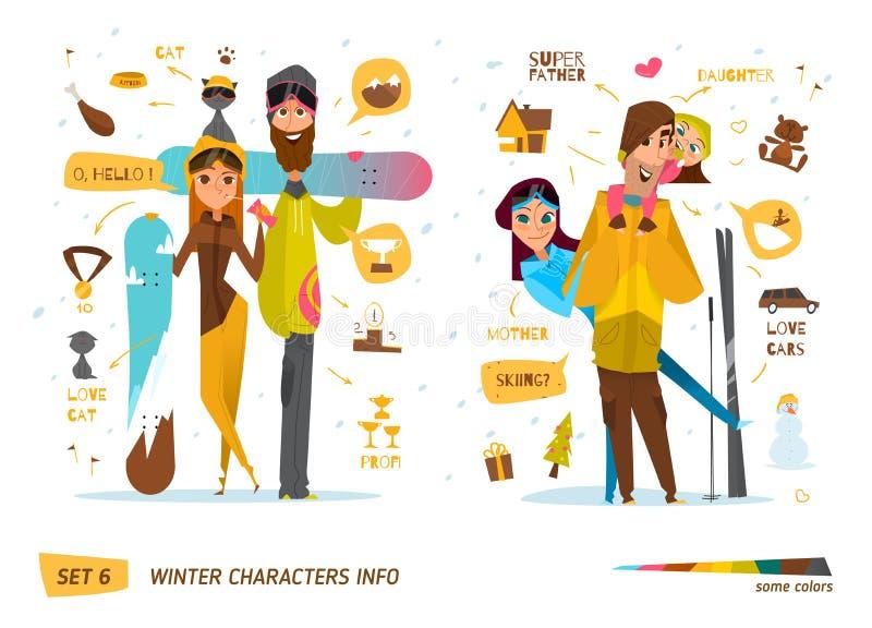 Caracteres del invierno fijados stock de ilustración