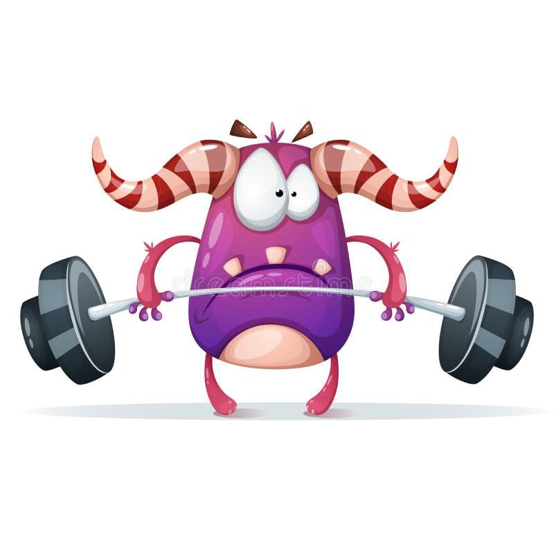 Caracteres del monstruo del deporte ejemplo del barbell libre illustration
