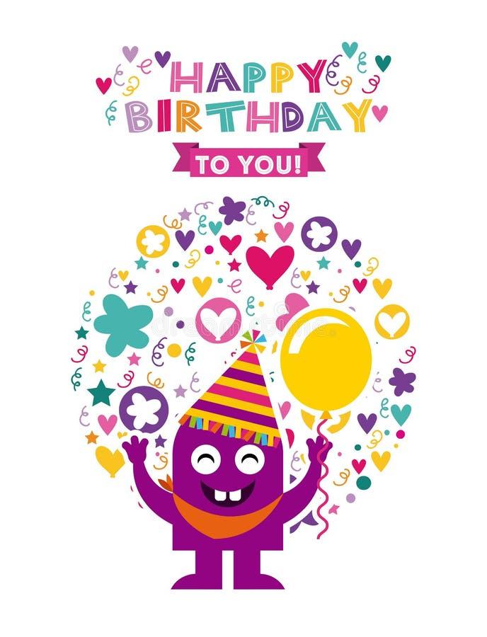 Caracteres del monstruo en fiesta de cumpleaños ilustración del vector