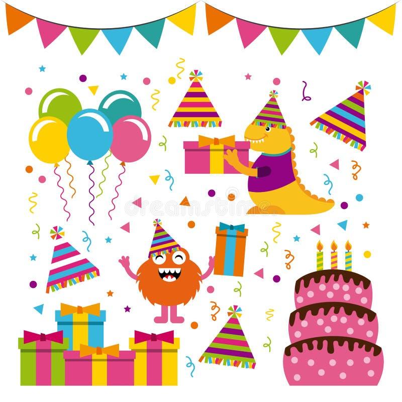 Caracteres del monstruo en fiesta de cumpleaños libre illustration