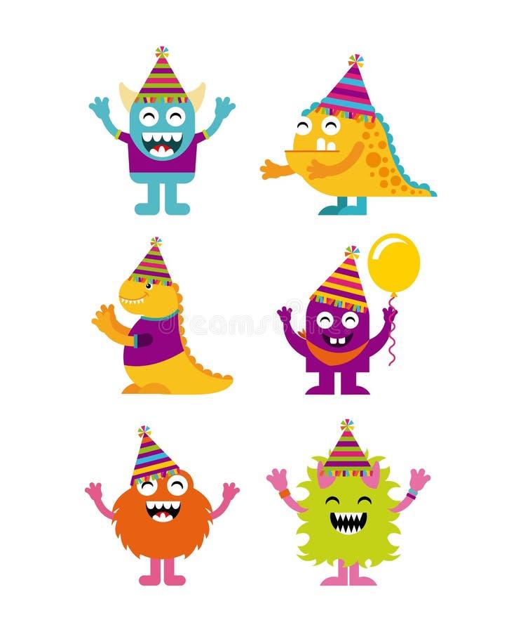 Caracteres del monstruo en fiesta de cumpleaños stock de ilustración