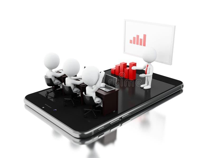 caracteres del negocio 3d que tienen una reunión en línea sobre la tableta stock de ilustración