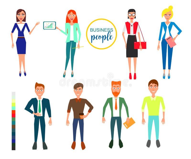 Caracteres del negocio Diseño fijado con los empleados Ilustración del vector ilustración del vector