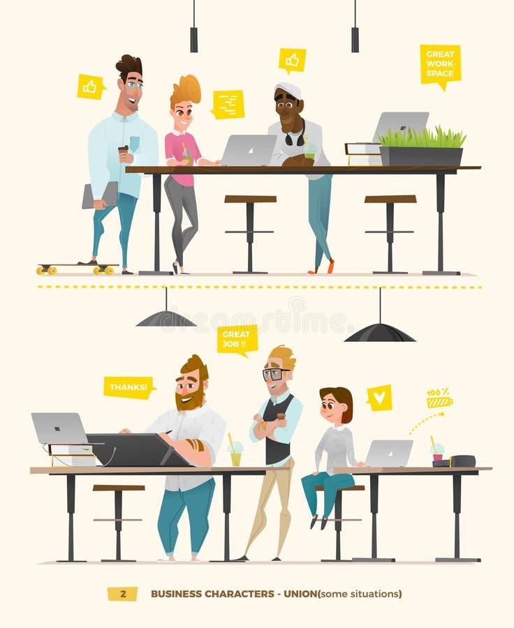 Caracteres del negocio en algunas situaciones ilustración del vector