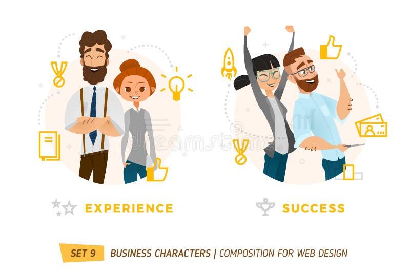 Caracteres del negocio en círculo stock de ilustración