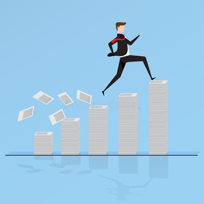 Caracteres del negocio Hombre de negocios corrido a través en la pila de papel stock de ilustración