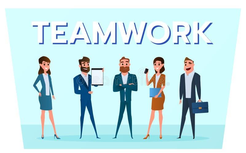 Caracteres del negocio Hombres de negocios del equipo con el trabajo de los artilugios al éxito ilustración del vector