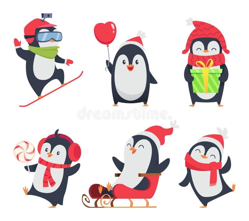 Caracteres del pingüino Ejemplos del invierno de la historieta de los animales de la fauna en diverso diseño de la mascota del ve libre illustration