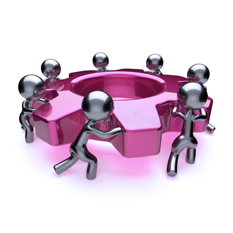 Caracteres del proceso de negocio, rueda dentada de la rueda de engranaje del trabajo en equipo ilustración del vector