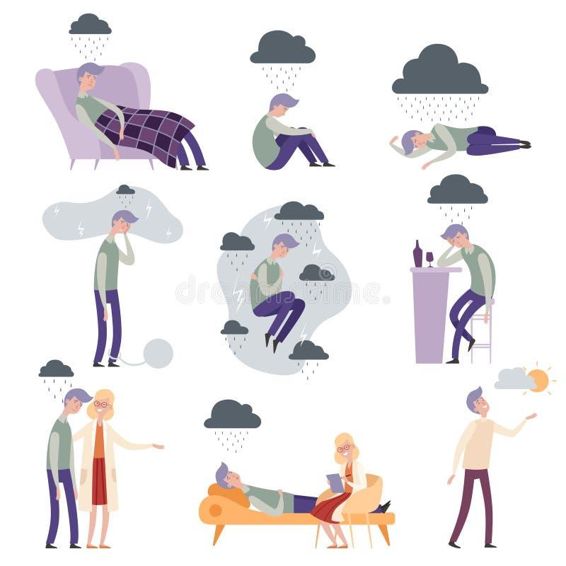 Caracteres del psicólogo Ejemplos solos de la gente deprimida y frustrados infelices del vector del terapeuta del doctor libre illustration