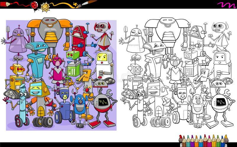 Caracteres del robot que colorean la página stock de ilustración