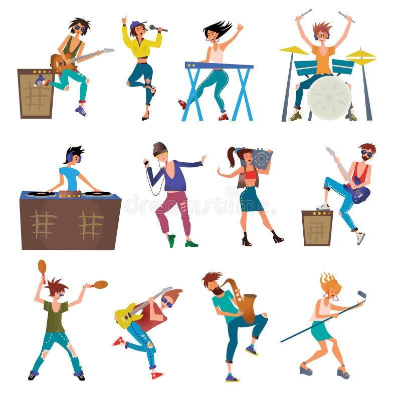 Caracteres del vector de la historieta de los músicos que tocan los instrumentos musicales Batería, teclista, cantantes, DJ, bail stock de ilustración