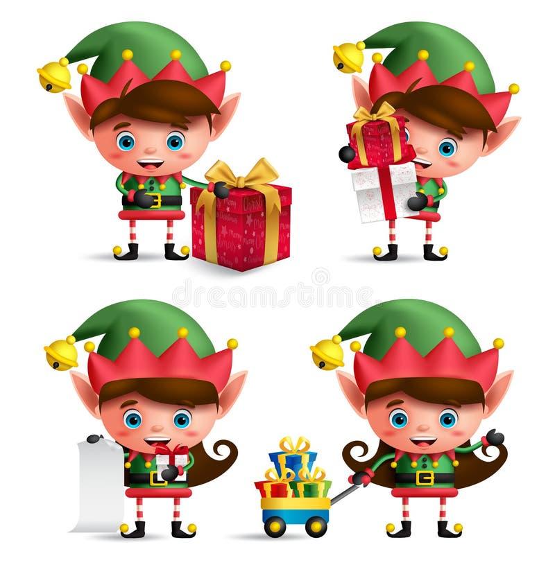 Caracteres del vector de los duendes de la Navidad fijados Niños lindos con el traje verde del duende libre illustration