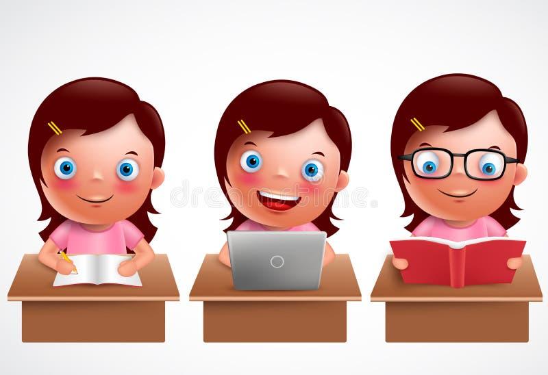 Caracteres del vector del niño de la muchacha fijados El estudiar, lectura y hojeando preescolares femeninos del estudiante stock de ilustración