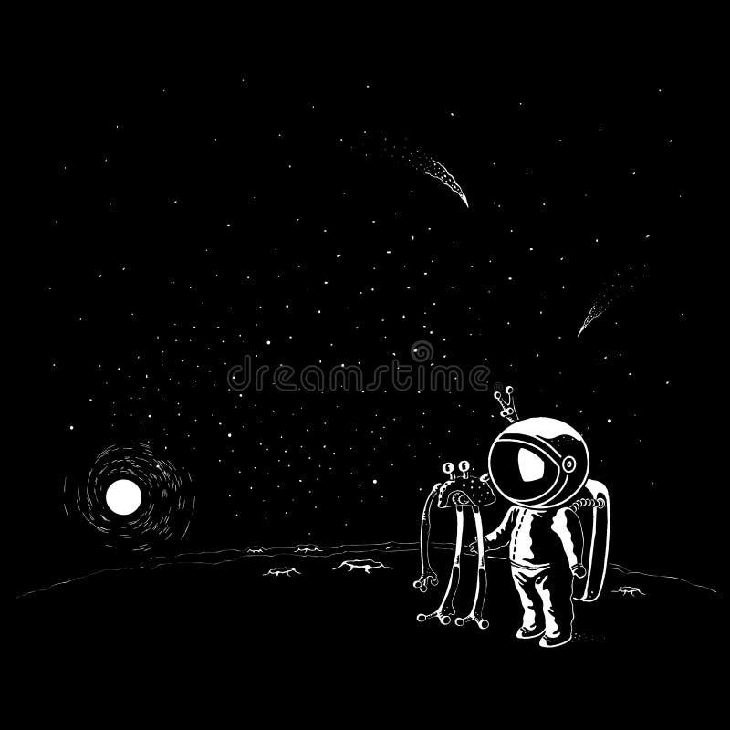 Caracteres del vector del UFO y del astronauta del estilo del garabato Astronauta en casco y spacesuit stock de ilustración