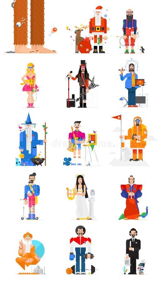 15 caracteres Diseño de carácter de moda en un estilo plano Los caracteres se aíslan en el fondo blanco Un sistema de gente de stock de ilustración