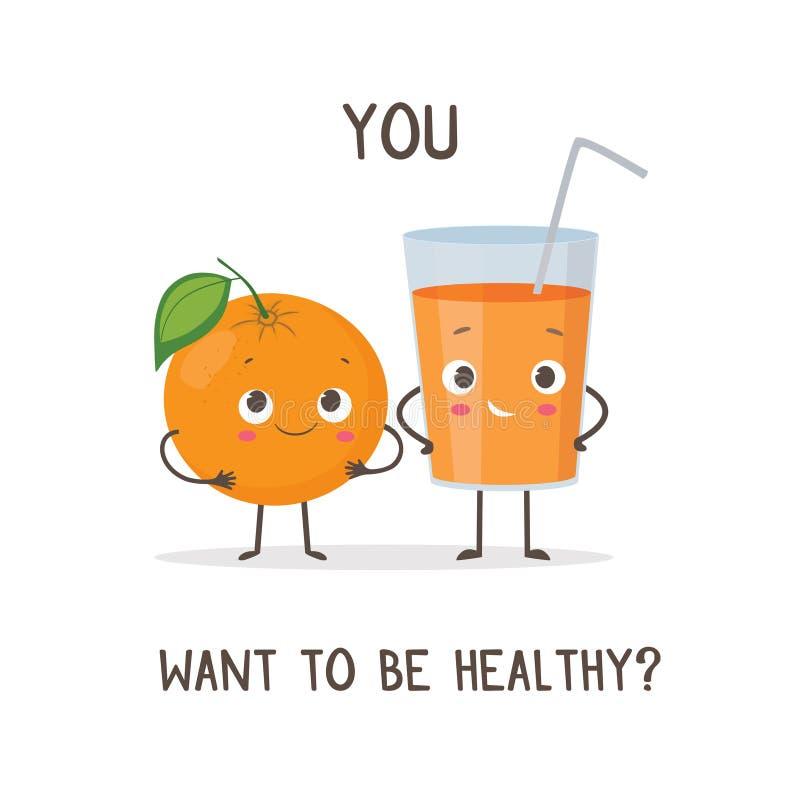 Caracteres divertidos anaranjados y vidrio de zumo de naranja stock de ilustración