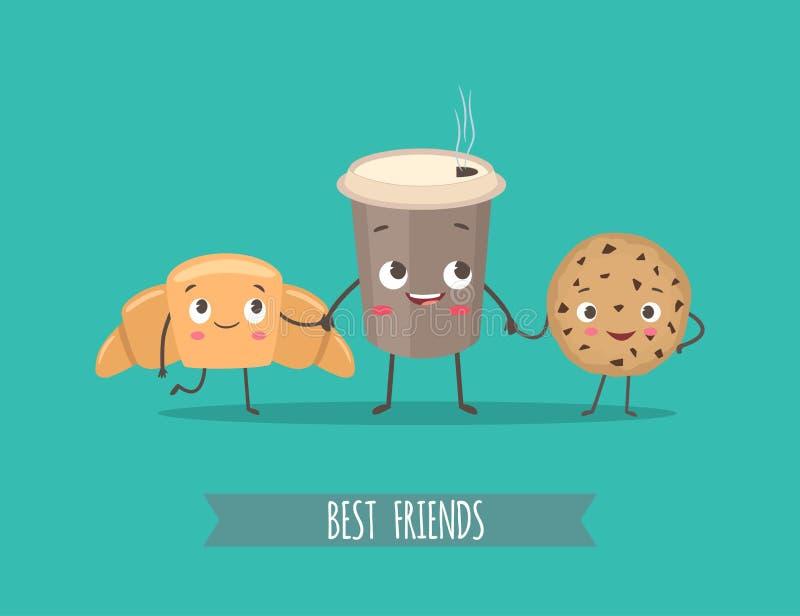 Caracteres divertidos cruasán, galletas con el chocolate y taza del co stock de ilustración
