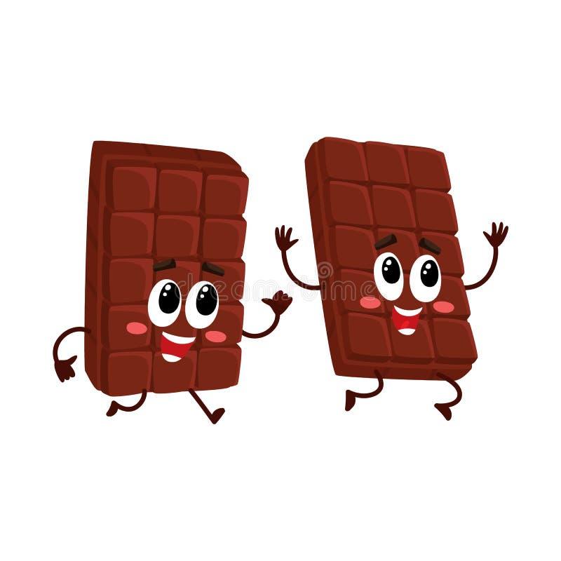 Caracteres divertidos de la barra de chocolate, una persecución, corriendo después de la otra libre illustration