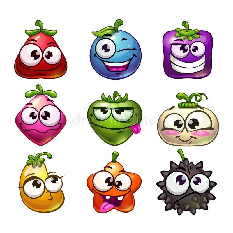 Caracteres divertidos de la fruta y de la baya de la historieta fijados stock de ilustración