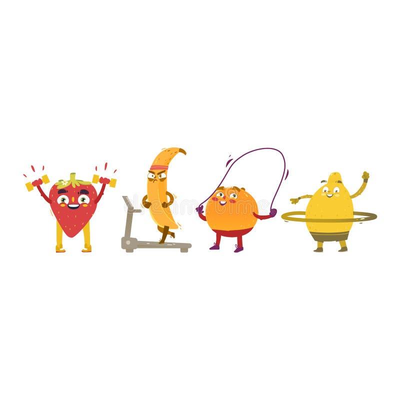 Caracteres divertidos de la fruta y de la baya que hacen deporte ilustración del vector