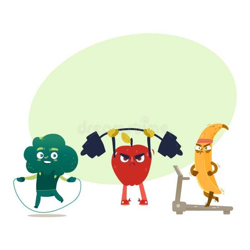 Caracteres divertidos de la fruta y de la baya que hacen deporte stock de ilustración