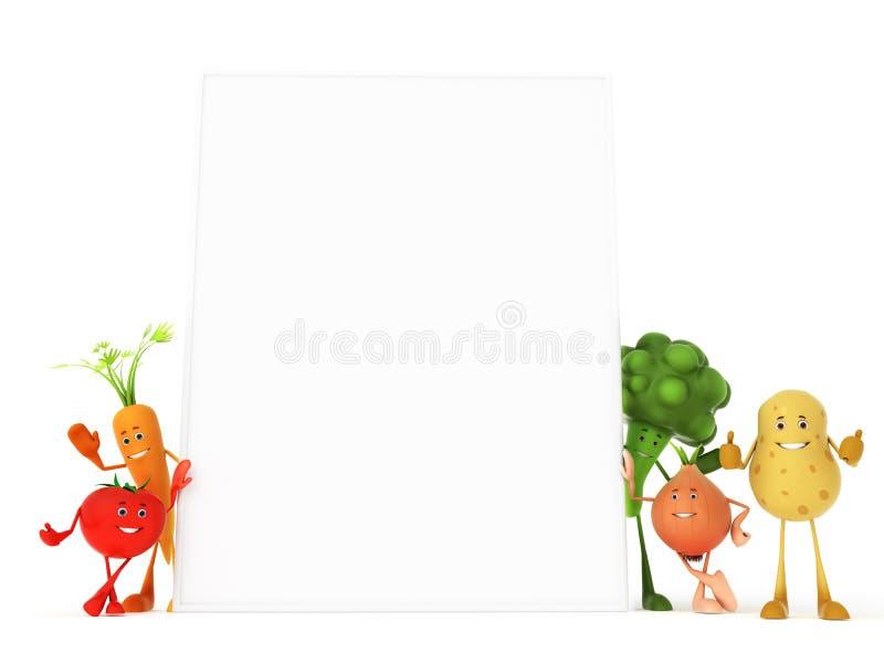 Caracteres divertidos del alimento stock de ilustración