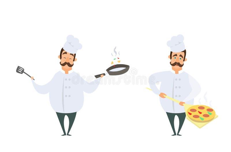 Caracteres divertidos del cocinero en actitudes de la acción stock de ilustración