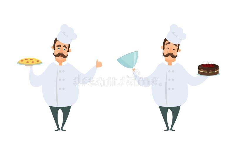 Caracteres divertidos del cocinero en actitudes de la acción libre illustration