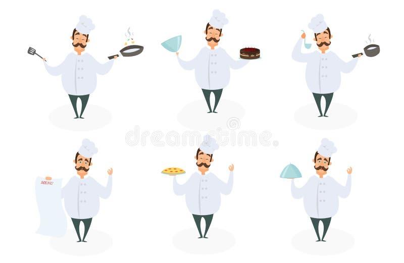 Caracteres divertidos del cocinero en actitudes de la acción ilustración del vector