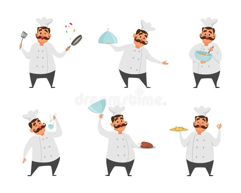 Caracteres divertidos del cocinero en actitudes de la acción Ejemplos del vector en estilo de la historieta ilustración del vector