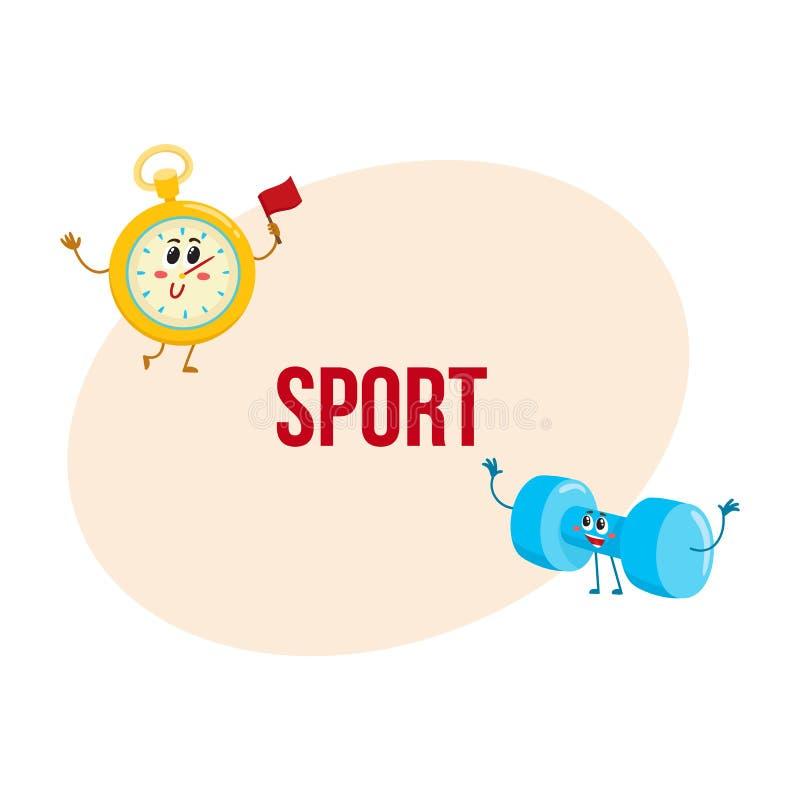 Caracteres divertidos del cronómetro y de la pesa de gimnasia con los rostros humanos, equipo de deporte libre illustration