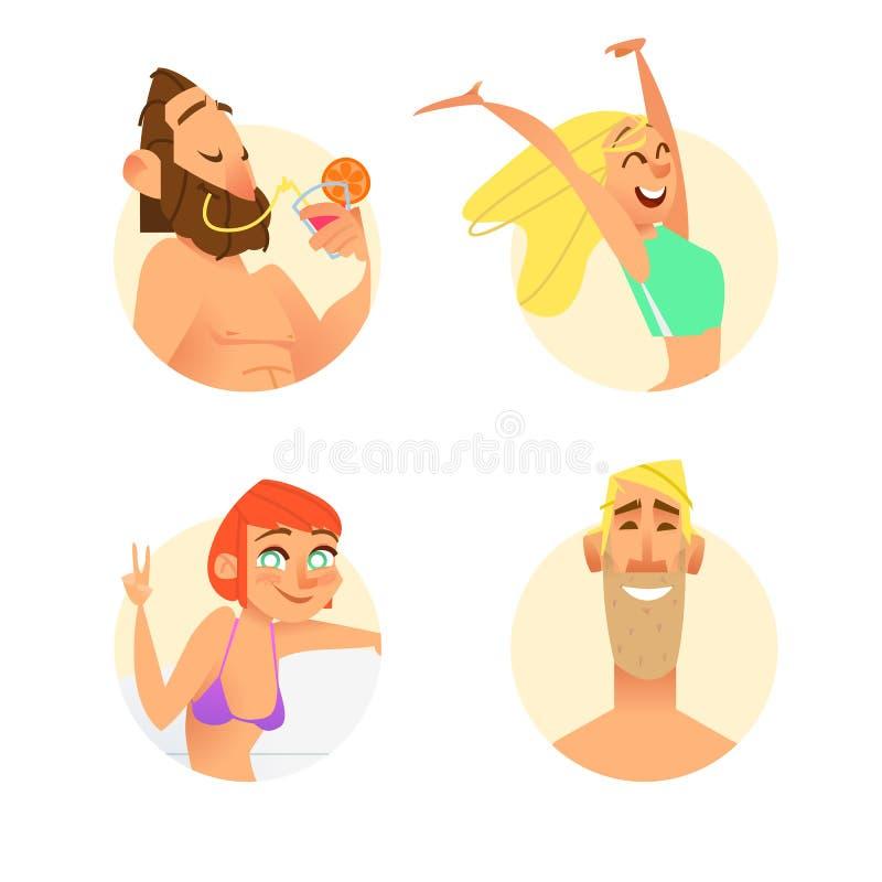 Caracteres divertidos del verano en estilo de la historieta ilustración del vector